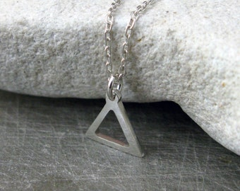 Fire Sign Silver Alchemy Symbol Element Aries Leo Sagittarius Small Triangle Link Chain Necklace
