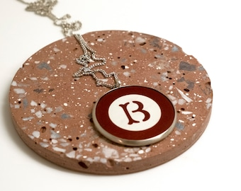 """Poker Chip Necklace - Authentic Vintage Antique Early 1900's - Inlaid Monogram """"B"""" Silver Pendant  by Kleo Xirou"""