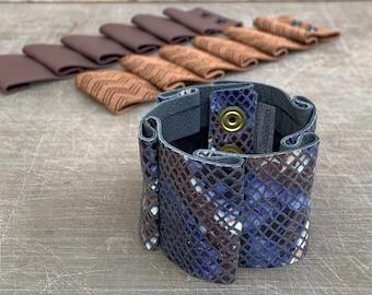 Snake Cuff - Wide Leather Reptile Print Bracelet - Pleated Leather -  Δερμάτινο Βραχιόλι Μαίανδρος με Πτυχές