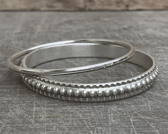 Thick Silver Bangle Embossed Solid Sterling Silver Bracelet - Statement Stacking Beaded Textured by Kleo Xirou