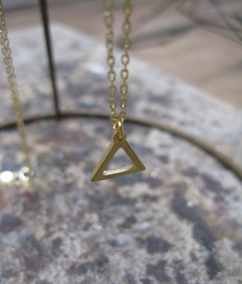 Gold Fire Symbol Small Alchemy Element Aries Leo Sagittarius Gold-Plated  Bronze Triangle Hermetic Necklace