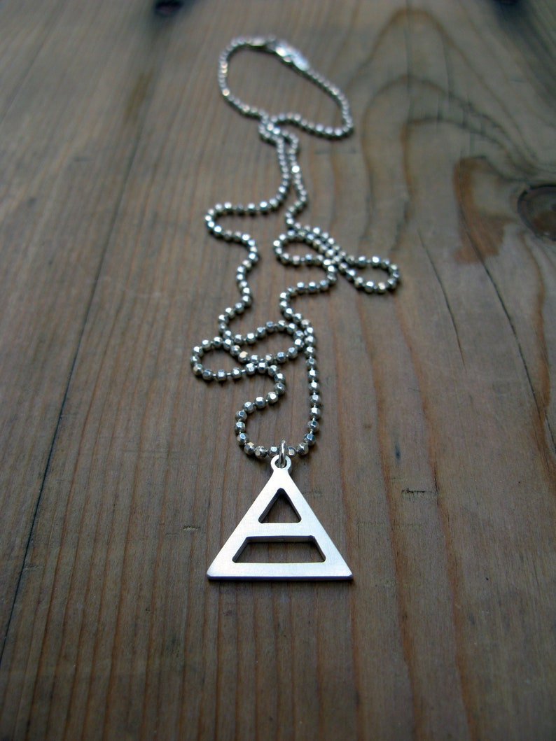Air Sign Alchemy Element Capricorn Taurus Virgo Symbol Chunky 2cm Silver  Triangle Hermetic Pendant Necklace Silver Ball Chain
