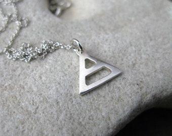 Air Sign Silver Alchemy Symbol Element Libra Gemini Aquarius Small Triangle Link Chain Necklace