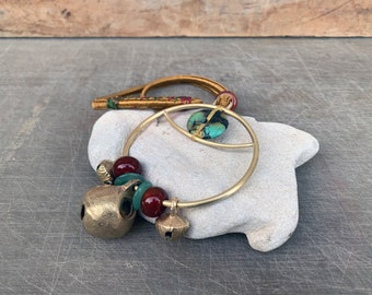 Bell Talisman - Evil Eye Protection Chime - Alter Bell - Turquoise and Carnelian