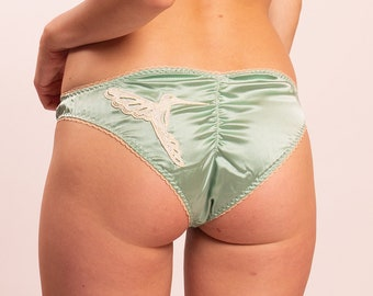 09ef09623a0f Dione: Stretch Silk Satin Panties with hummingbird lace applique. 4 cute  colors to choose from
