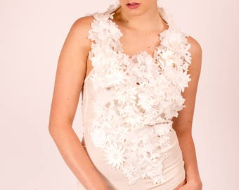 Gloria: Ivory Stretch Silk Body with 3-D Floral Lace.