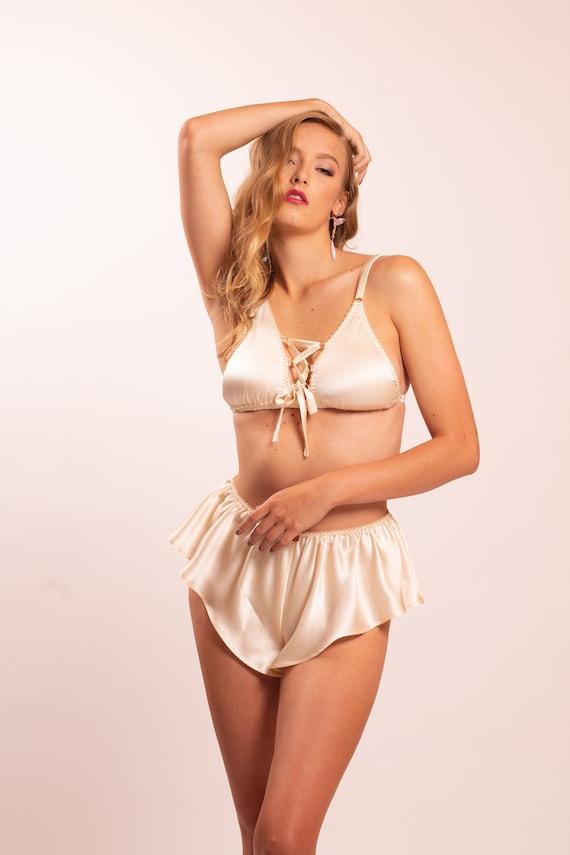 Thalia silk bra and Thalia bias cut silk panties Silk lingerie set