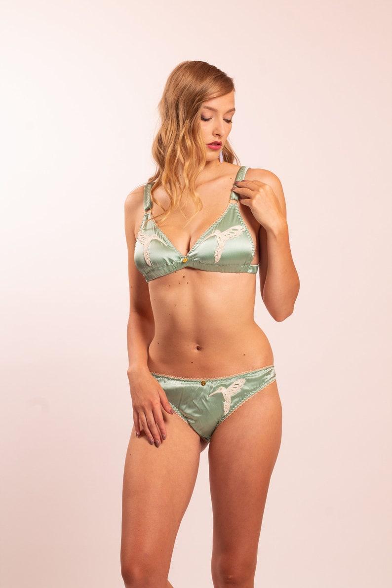 1f51c2b0d4cf Dione: Stretch Silk Satin Panties with hummingbird lace | Etsy