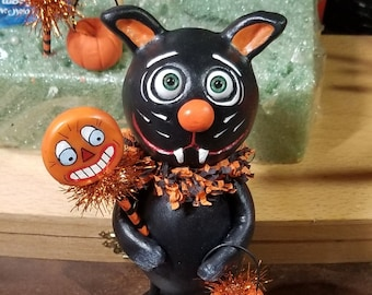 Black Cat  Halloween Grimmy art doll made to order