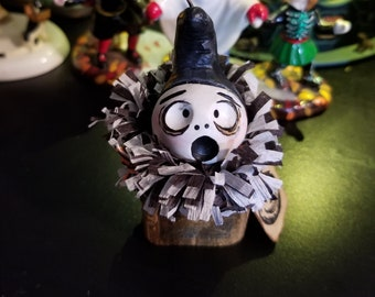 One Grimmy Reaper block head Halloween feather tree ornament open mouth