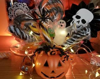 Adorable Halloween little pumpkin bucket filled with candy, goodies, ghost and an original art jol pumpkin bucket