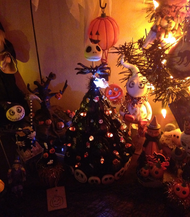 Reserved Nightmare Before Christmas Artist Made Vintage Style Ceramic Lighted Halloween Christmas Tree 11 Inch