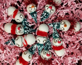 OOAK litter of Grimmy mini snowman ornament set made to order 5 ornaments with box