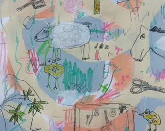 Folk Art, Painting, Abstract, Animals, Child Decor, Outsider