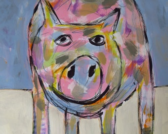 Folk Art, Pig, Painting, Child Decor, Folk Art, Original