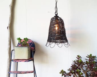 Pendant Lamp, Farmhouse, Vintage Style, Handmade Woven, Wire, Petaled Lamp