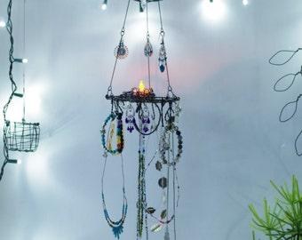 Jewelry Display, Jewelry Organizer, Boho, Candle Holder, Hanging