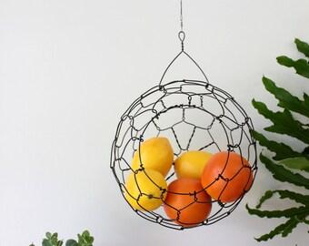 Wire Basket, Hanging Basket, Fruit Basket, Farm House, Vintage Style, Sphere Basket
