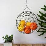 Medium Sphere Basket Painted in Distressed White Oil Paint