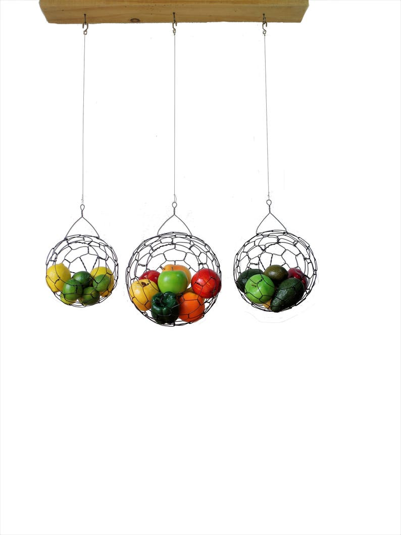 Hanging Wire Baskets  Wire Basket Set Fruit basket Sphere image 0