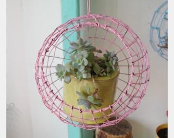 Wire Basket, Hanging Basket, Woven, Pink, Fruit Basket