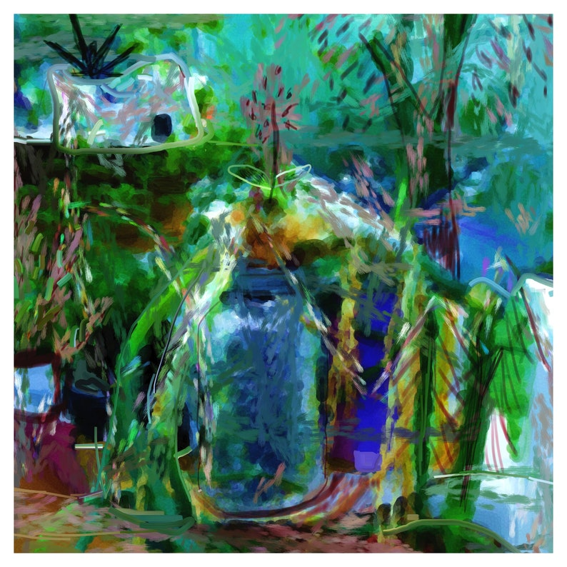 Digital Abstract Painting Instant Download Summer Garden image 0