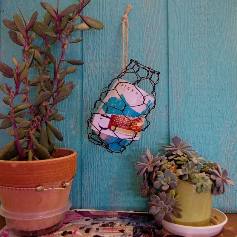 Wire Hanging Basket Handmade Decorative Country Rustic Vessel image 0