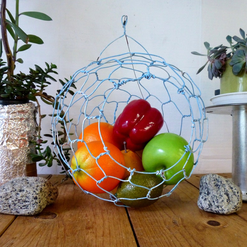 Hanging Wire Sphere Fruit Basket in  Distressed blue with image 0