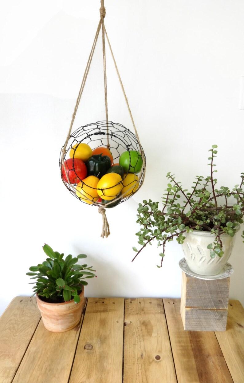 Hanging Wire Fruit Basket With Macrame Hanger Kitchen Rustic image 0