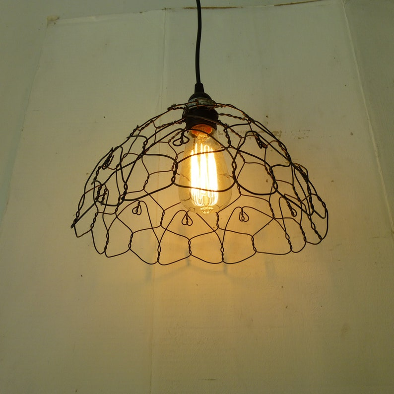 Handmade Wire Vintage Style Farmhouse Pendant Lamp image 0