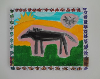 Outsider Folk Art Mixed media Collage Horse and Bird