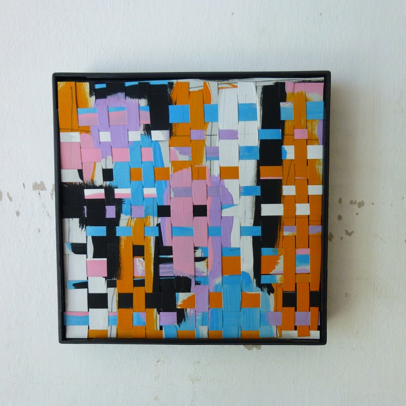 Framed Original Woven Abstract Painting image 0