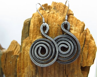 Spiral Earrings in Hammered Steel