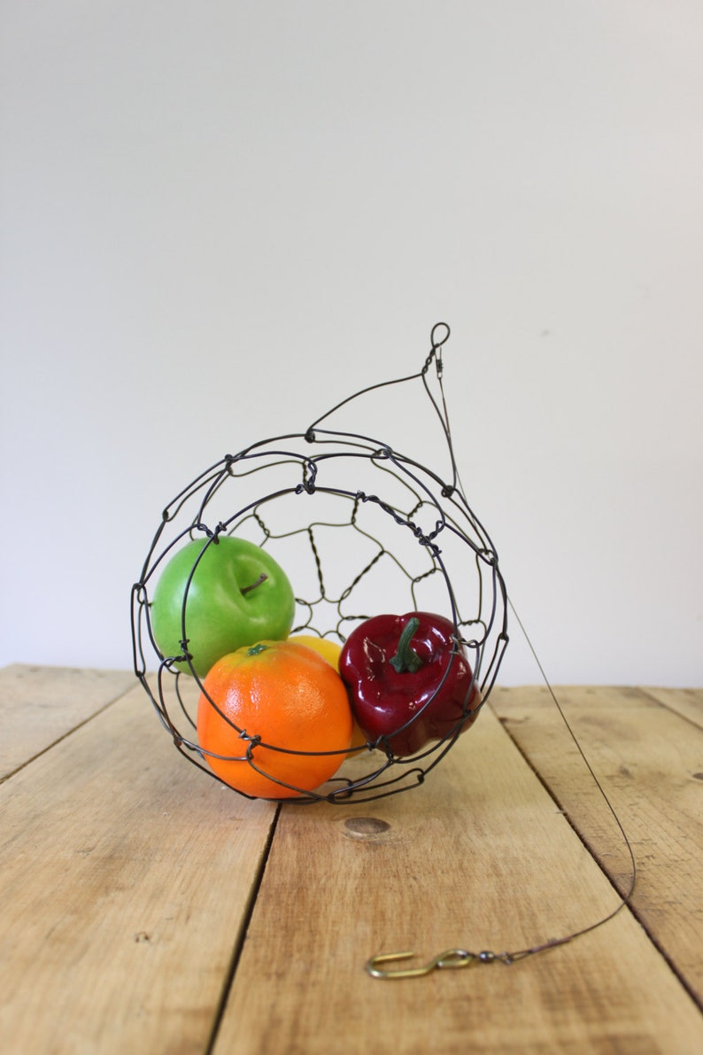 Hanging Wire Basket  Sphere Fruit Basket Country  Style image 0