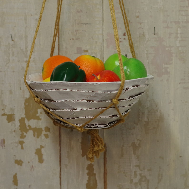 Decorative Hanging Fruit Bowl Recycled Cardboard With Macrame image 0