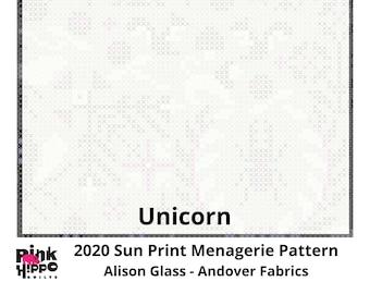 Unicorn Sun Print 2020 Menangerie Pattern by Alison Glass 1/2 yd, a great blender fabric - Sunprint by Andover Fabrics 9387-L
