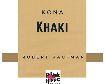 Kona Khaki Solid Cotton Fabric, Tan fabric by Robert Kaufman K001-1187