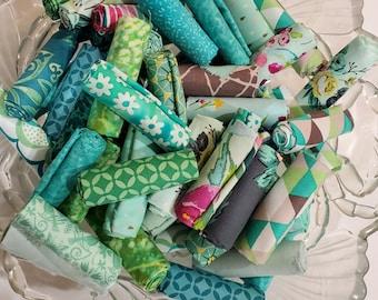 Aqua, Teal and Turquoise Fabric Scraps, a 1/2 dozen or Bakers Dozen of scraps - stash builder - 9x10, 10x10, 9x11, fat 16ths, fat sixteenths