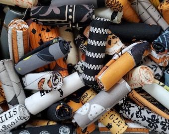 Halloween Fabric Scraps, a  Bakers Dozen, 13 quilt fabrics, stash builder,  9x10, 10x10, 9x11, fat 16ths, fat sixteenths