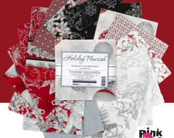 """Holiday Flourish SCARLET colorway 5"""" charm pack cotton fabric, 42 piece  5"""" squares, Robert Kaufman, Christmas fabric squares! CHS-962-42"""