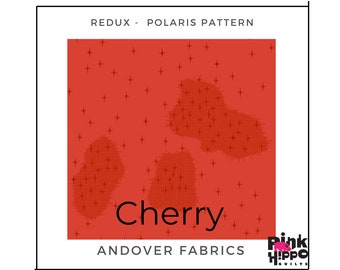 Giucy Giuce Cherry Color Polaris Pattern Redux collection A-8964-R by Guicy Guice for Andover Fabrics, Inc., sold by Half Yard
