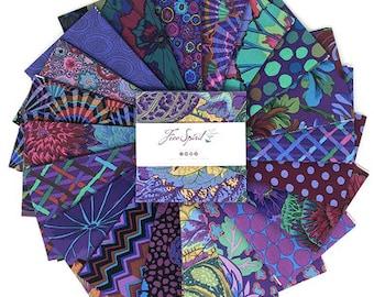 "Kaffe Fassett Emperor, 5"" charm pack, Quilt Fabric, Free Spirit Fabric, Cotton Fabric, 42 Pc"