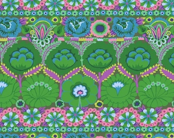 Embroidered Flower Green Philip Jacobs Kaffe Fassett Collective Fabric 2021,  PWGP185.GREEN, 100% Cotton, sold by 1/2 yard