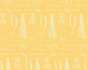 Idyllic Text Yellow by Minki Kim for Riley Blake Designs, 1/2 yd, script fabric - C9881-YELLOW