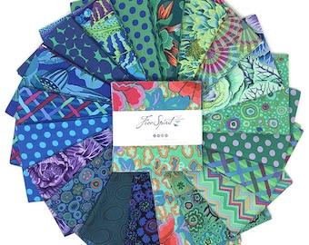 "Kaffe Fassett Ocean, 5"" charm pack, Quilt Fabric, Free Spirit Fabric, Cotton Fabric, 42 Pc"