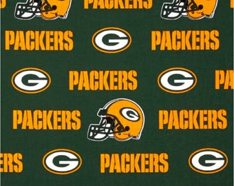 NFL Green Bay Packers 100% Cotton Fabric  in 1/2 yards, sports fan, decorative, gift, man cave, mask fabric, licensed, Green and Gold