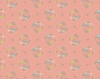 Mushroom Toss Peach from Woodland Songbirds by Sheri McCulley for Poppie Cotton - WS20309 - 1/2 Yd cuts, 100% cotton,
