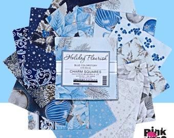 "Holiday Flourish Blue Colorstory 5"" charm squares cotton fabric, 42 piece, 5"" square, Robert Kaufman, christmas fabric, Poinsettia, Holly"