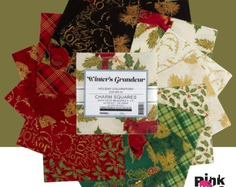 """Winter's Grandeur Holiday Colorstory from Liza Bea Studio, 5"""" charm squares cotton fabric, 42 pieces, for Robert Kaufman CHS-964-42"""