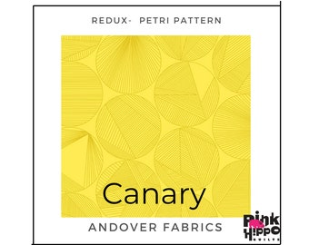 Giucy Giuce Canary Color Petri Pattern Redux collection A-8960-Y1 by Guicy Guice for Andover Fabrics, Inc., sold by Half Yard
